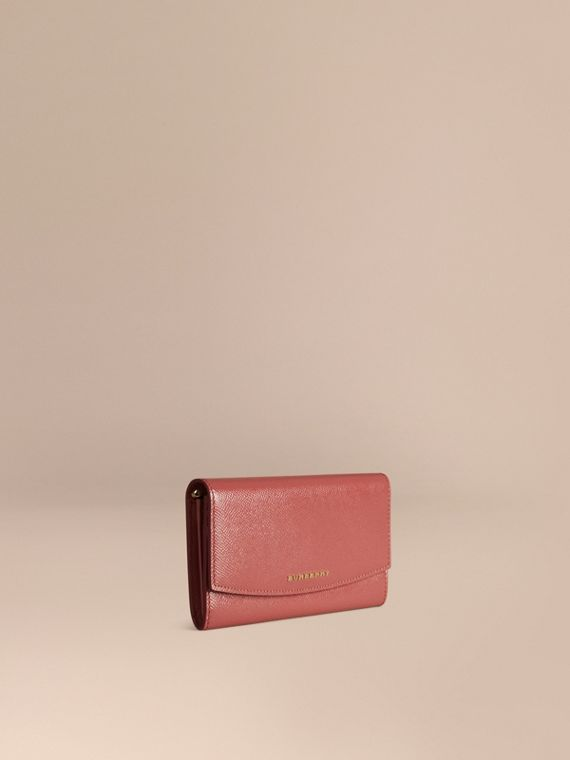 Patent London Leather Continental Wallet Antique Rose