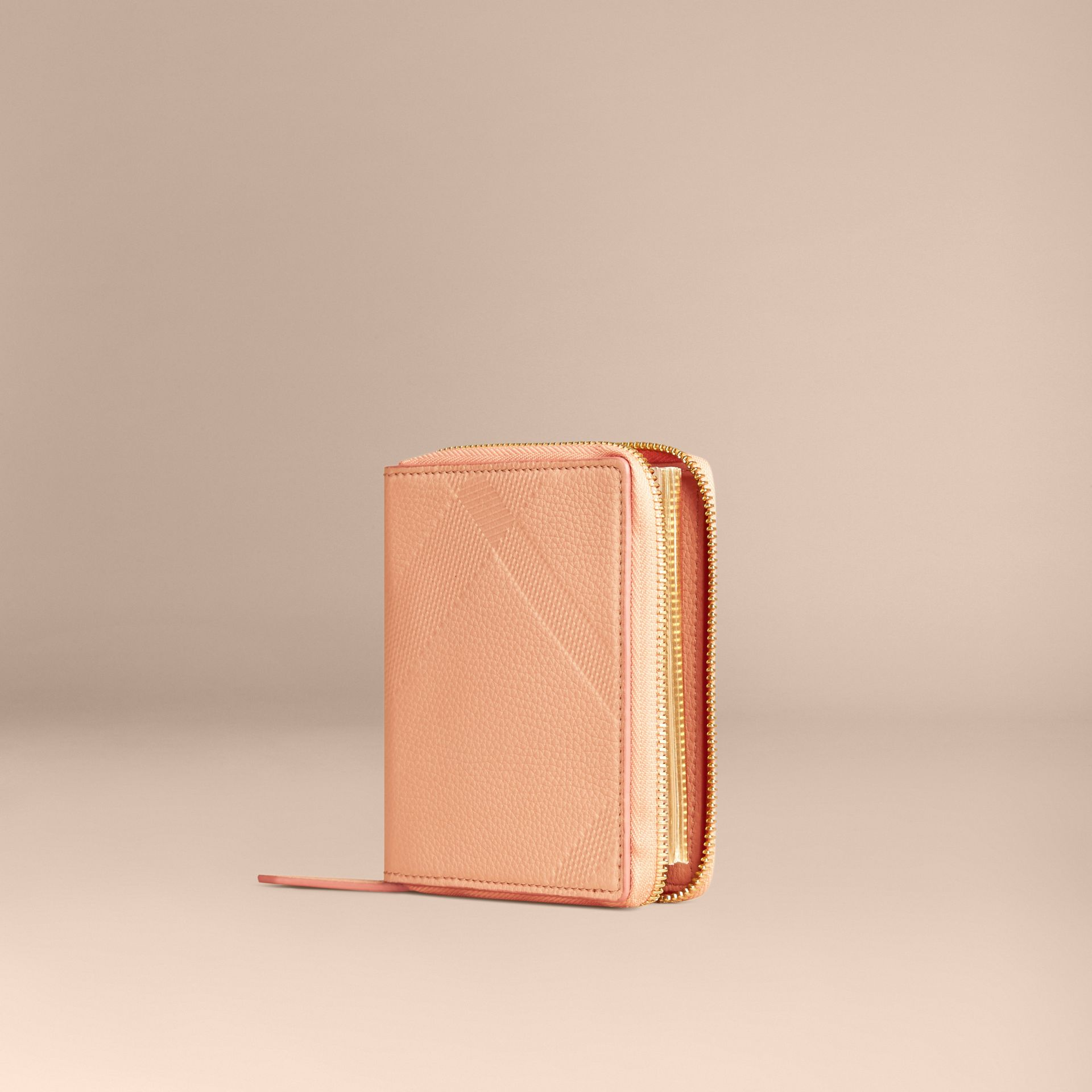 Pink apricot Ziparound Embossed Check Grainy Leather Mini Notebook Pink Apricot - gallery image 1