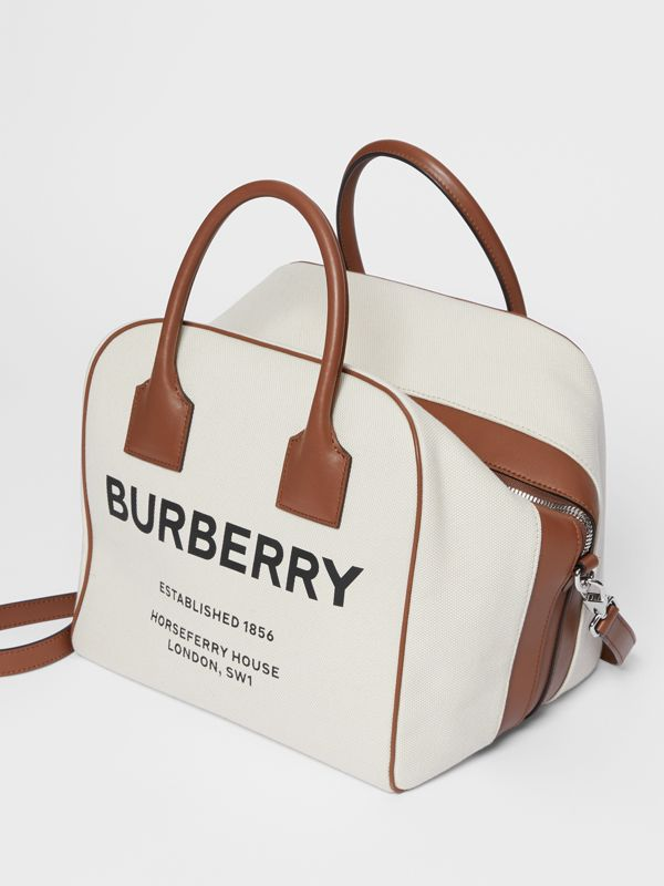 Borsa Cube media in tela con stampa Horseferry (Naturale/marrone Malto) - Donna | Burberry - cell image 3