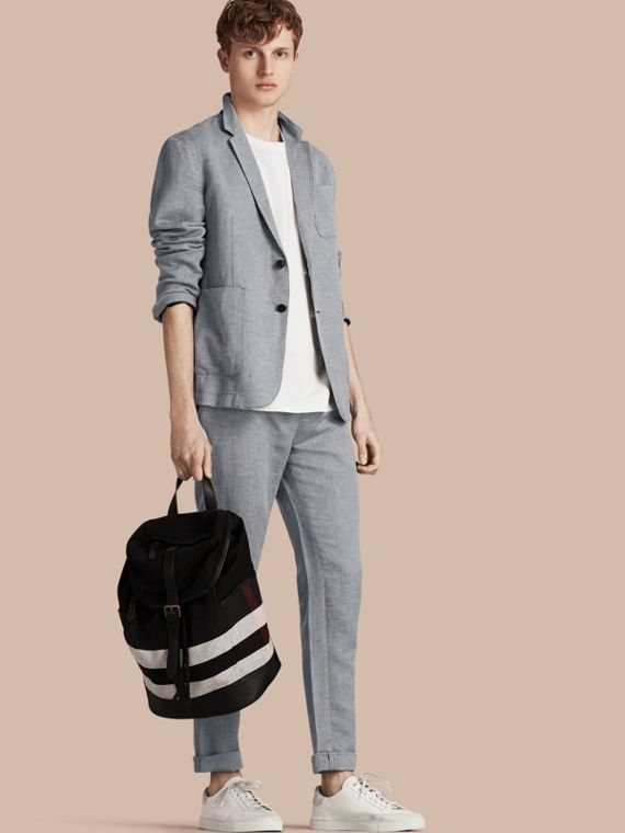 Herringbone Linen Cotton Tailored Jacket Pale Blue