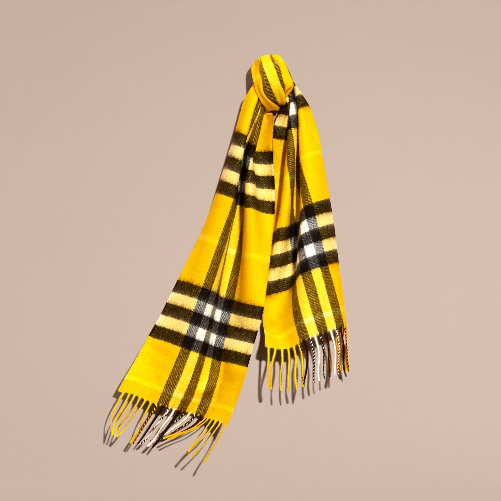 The Mini Classic Cashmere Scarf in Check in Gorse Yellow | Burberry - gallery image 4