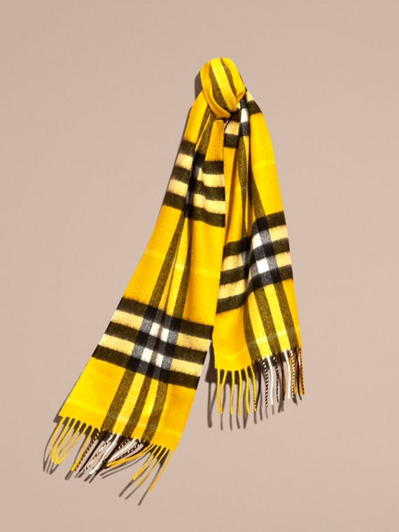 The Mini Classic Check Cashmere Scarf in Gorse Yellow | Burberry Canada - cell image 3