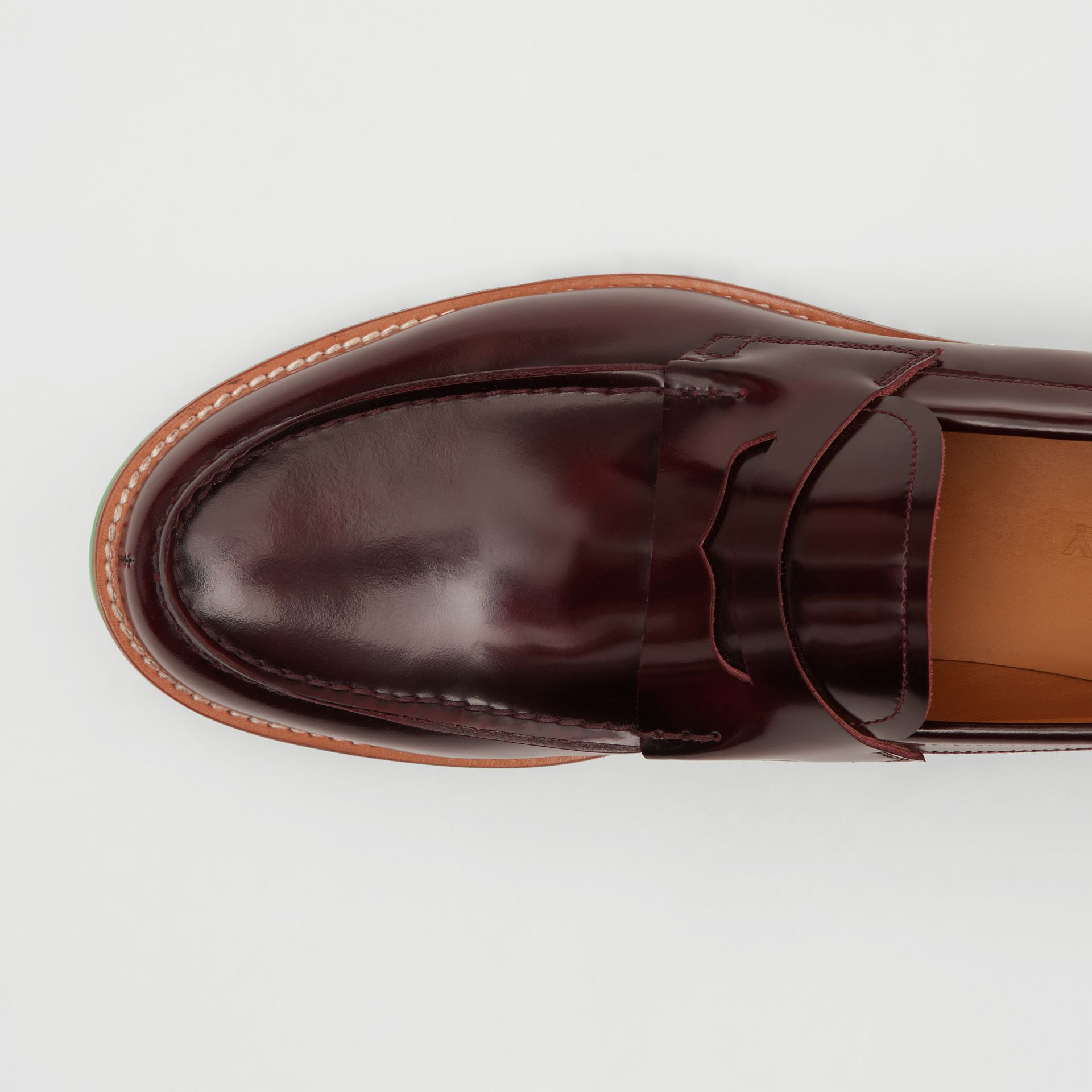 D-ring Detail Contrast Sole Leather Loafers in Bordeaux/green - Men | Burberry United Kingdom - gallery image 1