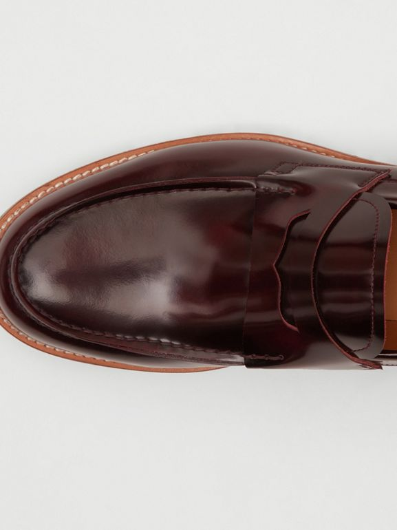 D-ring Detail Contrast Sole Leather Loafers in Bordeaux/green - Men | Burberry Singapore - cell image 1