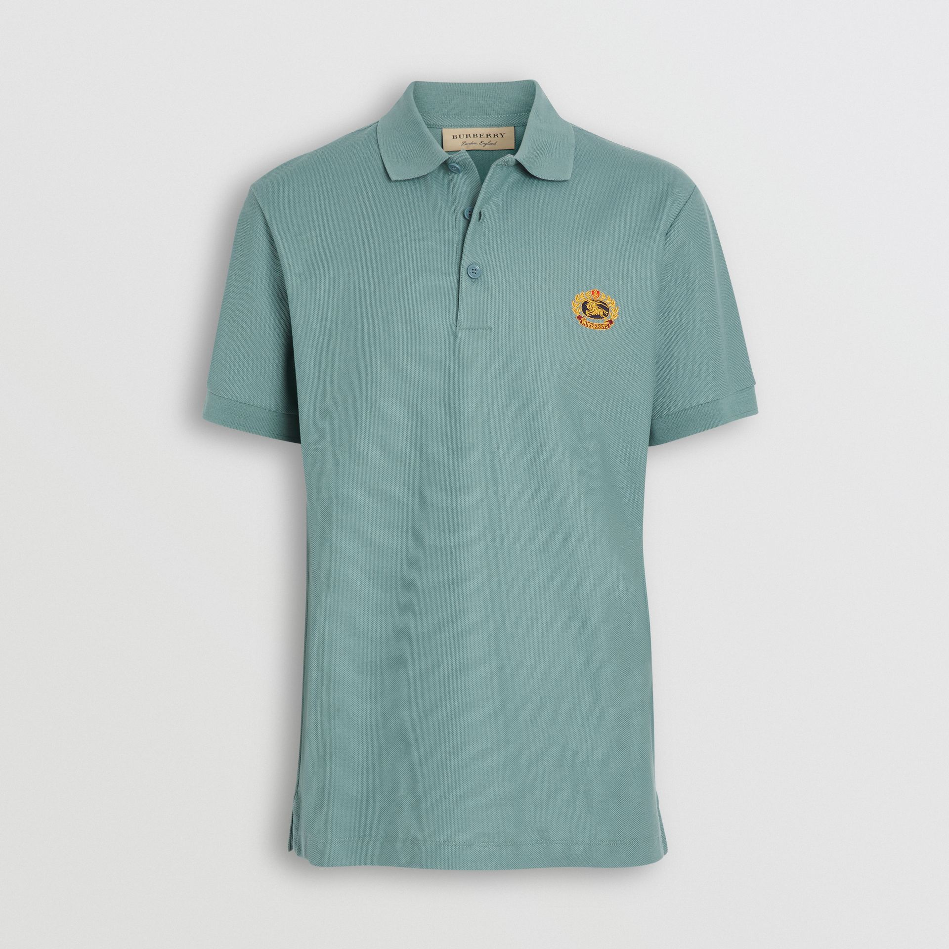 Archive Logo Cotton Piqué Polo Shirt in Dusty Teal - Men | Burberry Canada - gallery image 3