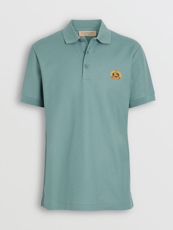 Archive Logo Cotton Piqué Polo Shirt in Dusty Teal - Men | Burberry Canada - cell image 3