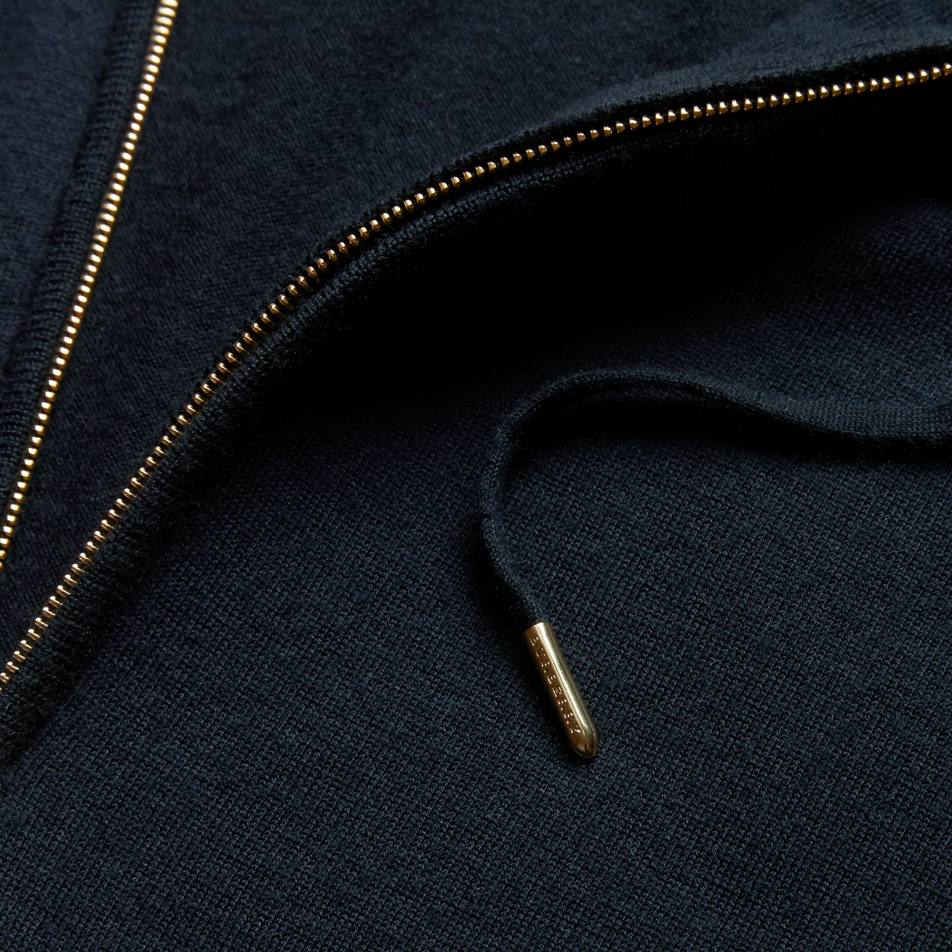 Navy Two-tone Cashmere Hooded Top - gallery image 2