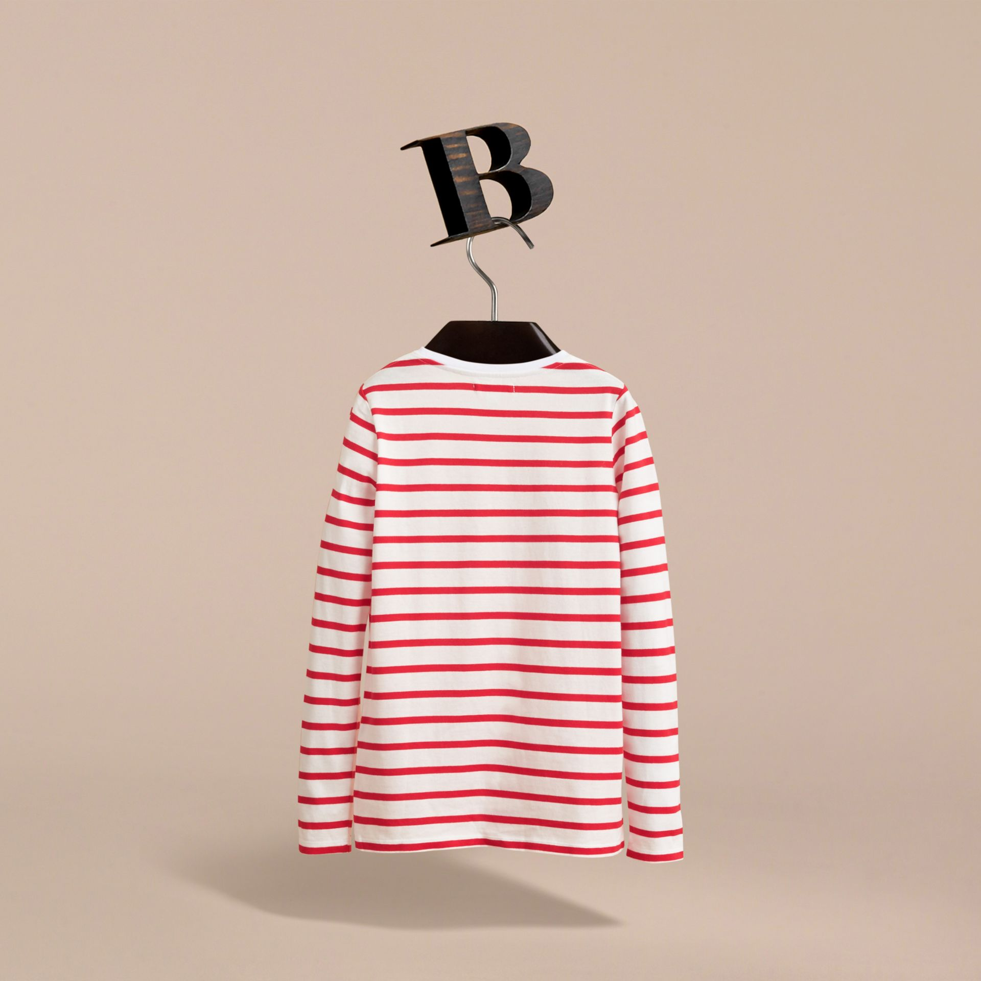 Unisex Pallas Helmet Motif Breton Stripe Cotton Top in Parade Red | Burberry - gallery image 4