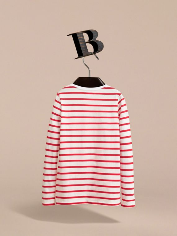 Unisex Pallas Helmet Motif Breton Stripe Cotton Top in Parade Red | Burberry - cell image 3