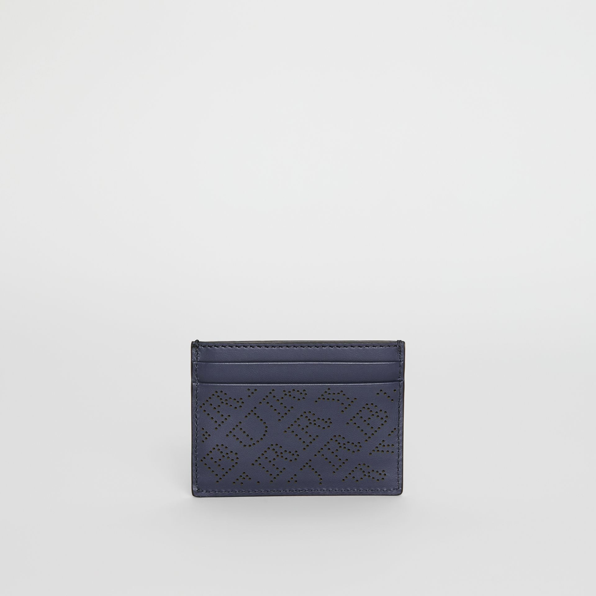 Perforated Logo Leather Card Case in Navy - Women | Burberry - gallery image 5