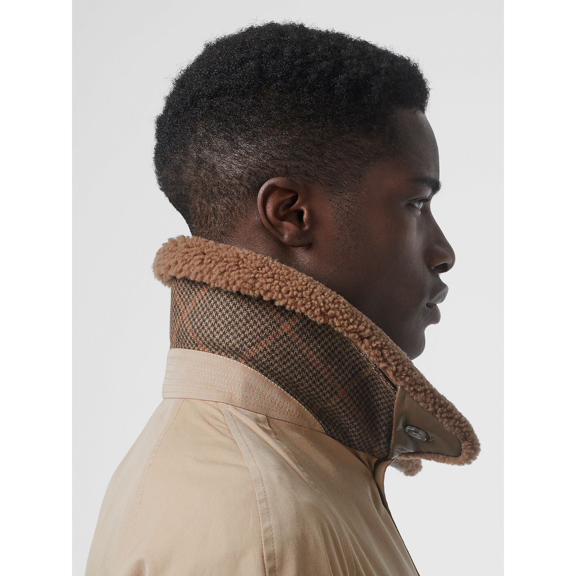 Shearling Collar Cotton Car Coat in Honey - Men | Burberry - gallery image 5