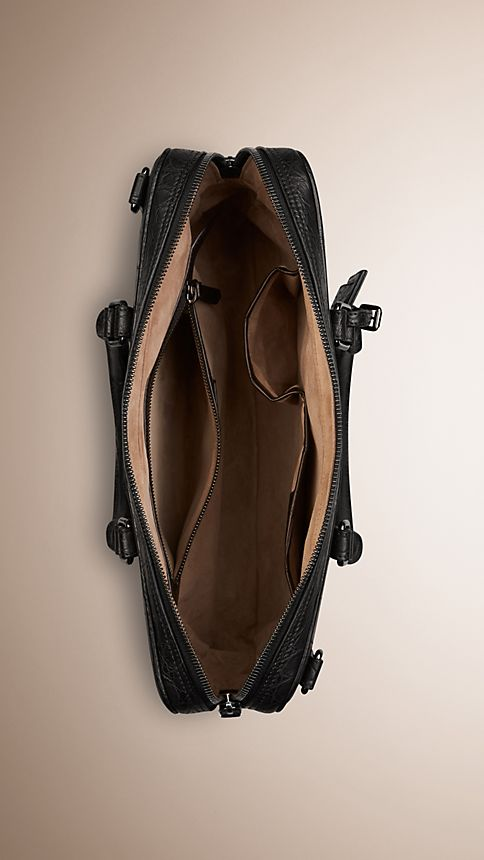 Black Alligator Leather Crossbody Briefcase - Image 5