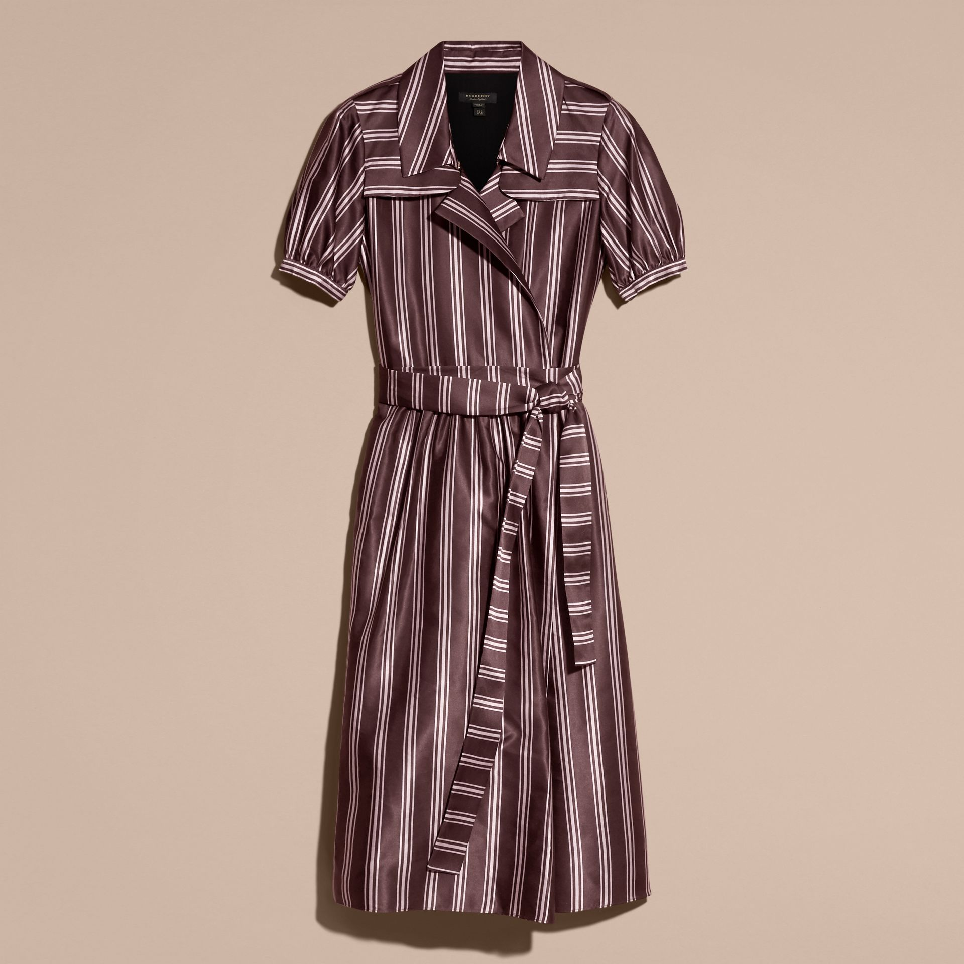 Crimson Panama Stripe Cotton Silk Fixed Wrap Dress - gallery image 4