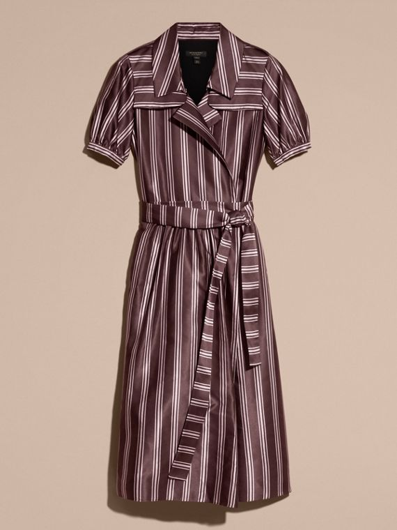 Crimson Panama Stripe Cotton Silk Fixed Wrap Dress - cell image 3