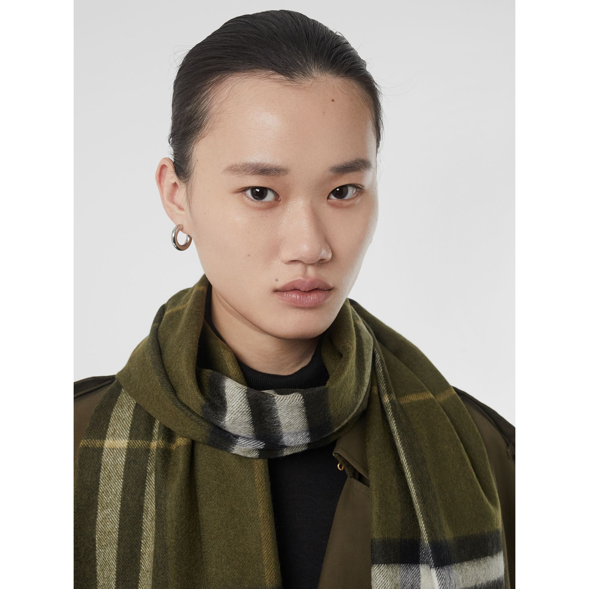 The Classic Check Cashmere Scarf in Olive Green | Burberry United Kingdom - gallery image 2