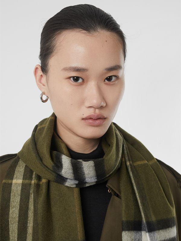 The Classic Check Cashmere Scarf in Olive Green | Burberry United States - cell image 2