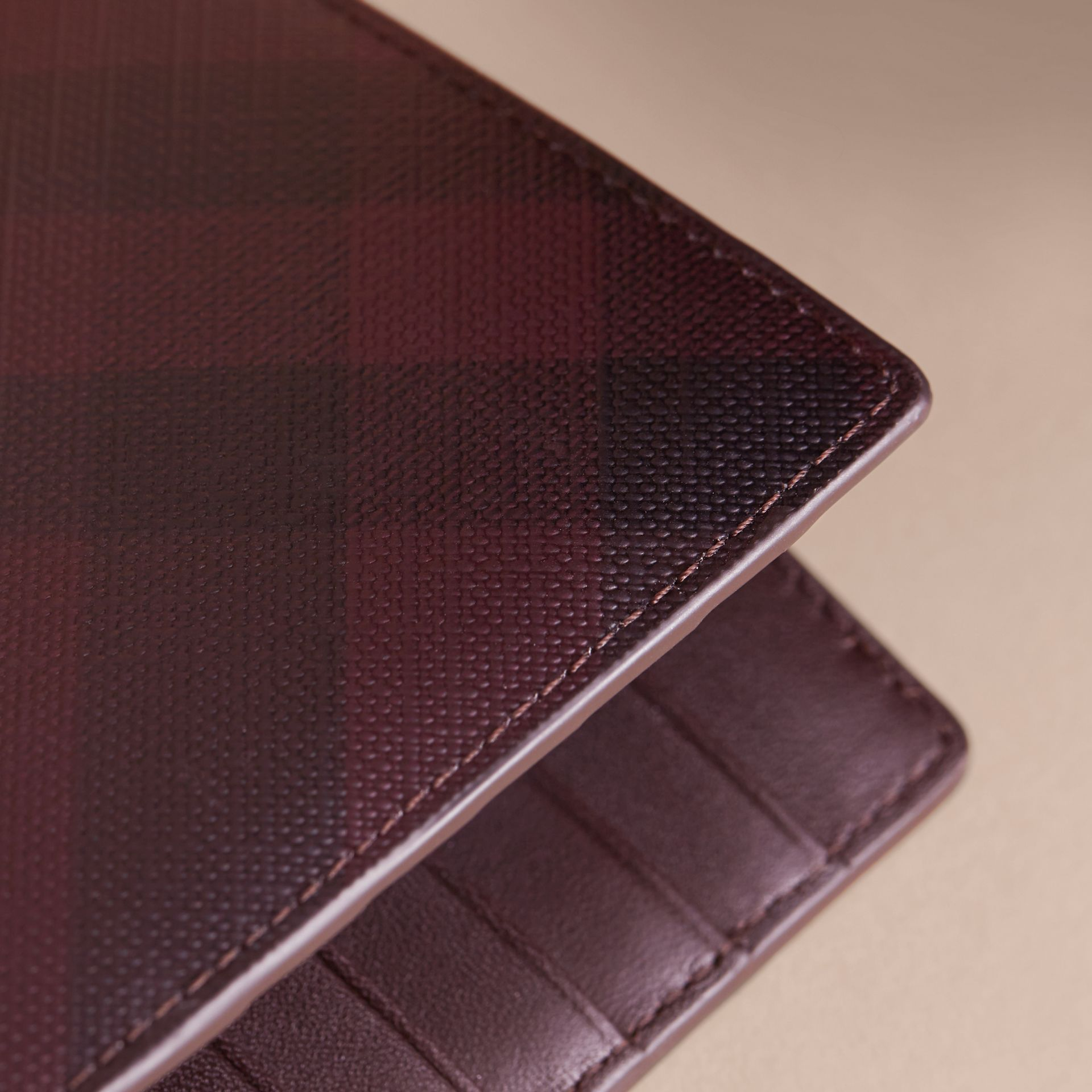 London Check and Leather Continental Wallet in Deep Claret - Men | Burberry Canada - gallery image 2