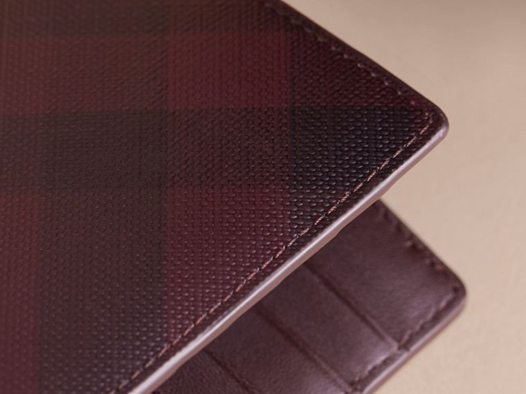 London Check and Leather Continental Wallet in Deep Claret - Men | Burberry - cell image 1