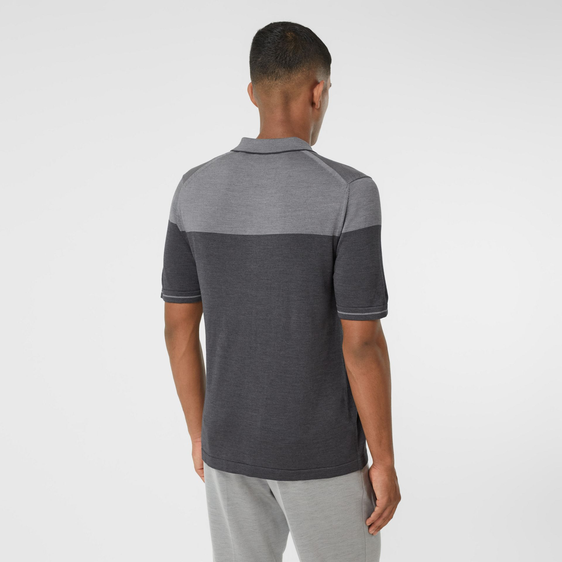 Monogram Motif Two-tone Silk Cashmere Polo Shirt in Charcoal - Men | Burberry - gallery image 2