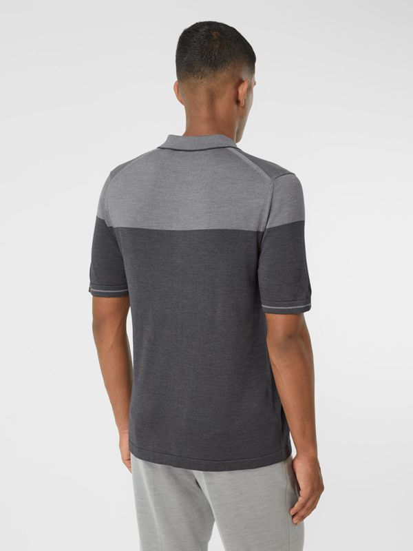 Monogram Motif Two-tone Silk Cashmere Polo Shirt in Charcoal - Men | Burberry - cell image 2