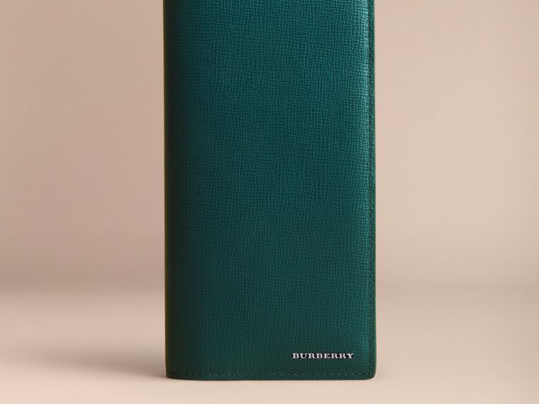 London Leather Continental Wallet in Dark Teal | Burberry - cell image 1
