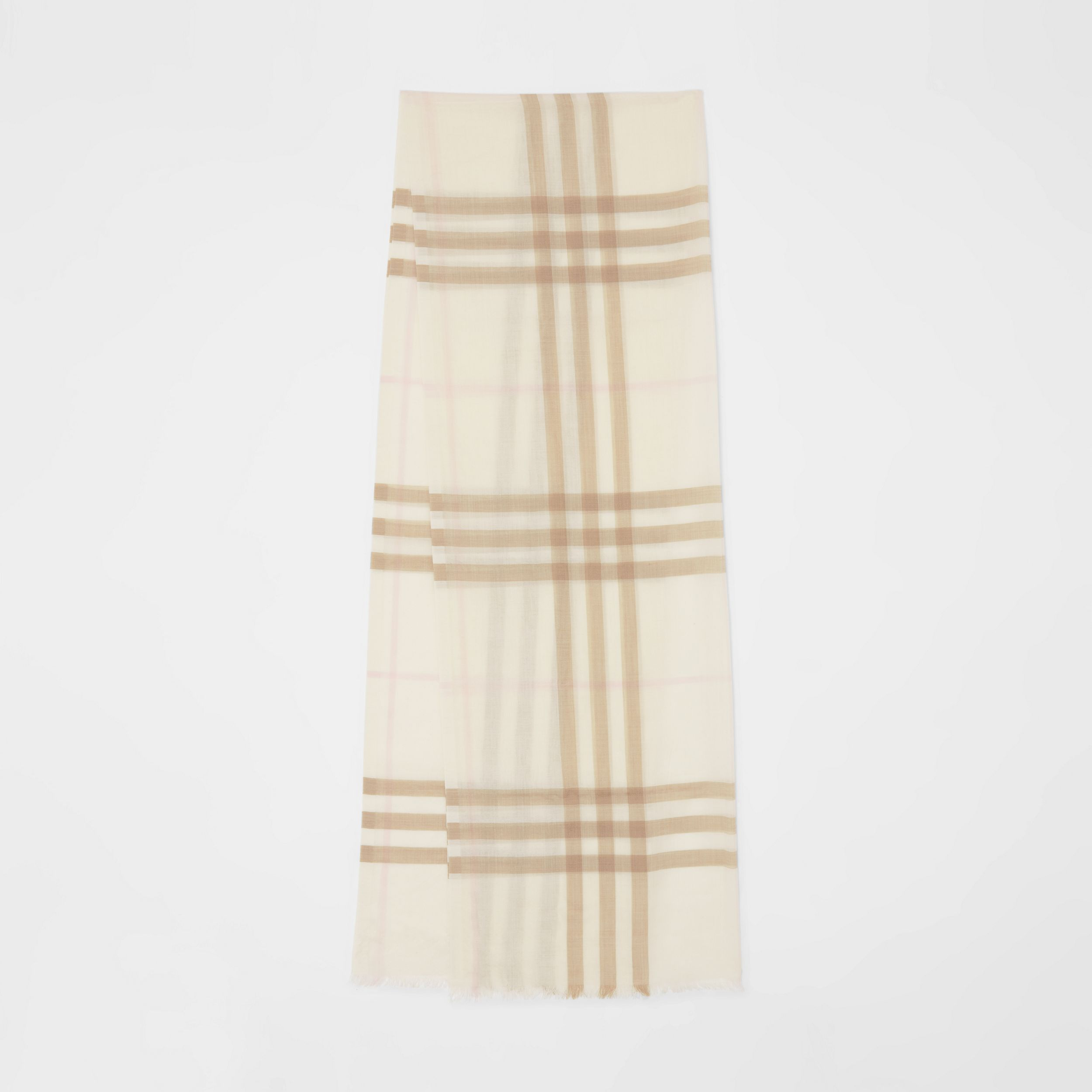 Lightweight Check Wool Silk Scarf in White/alabaster | Burberry - 1