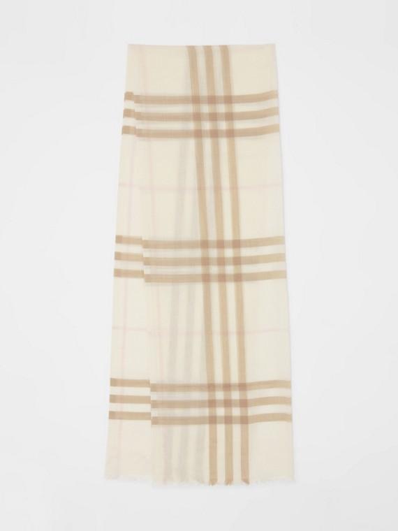 Lightweight Check Wool Silk Scarf in White/alabaster
