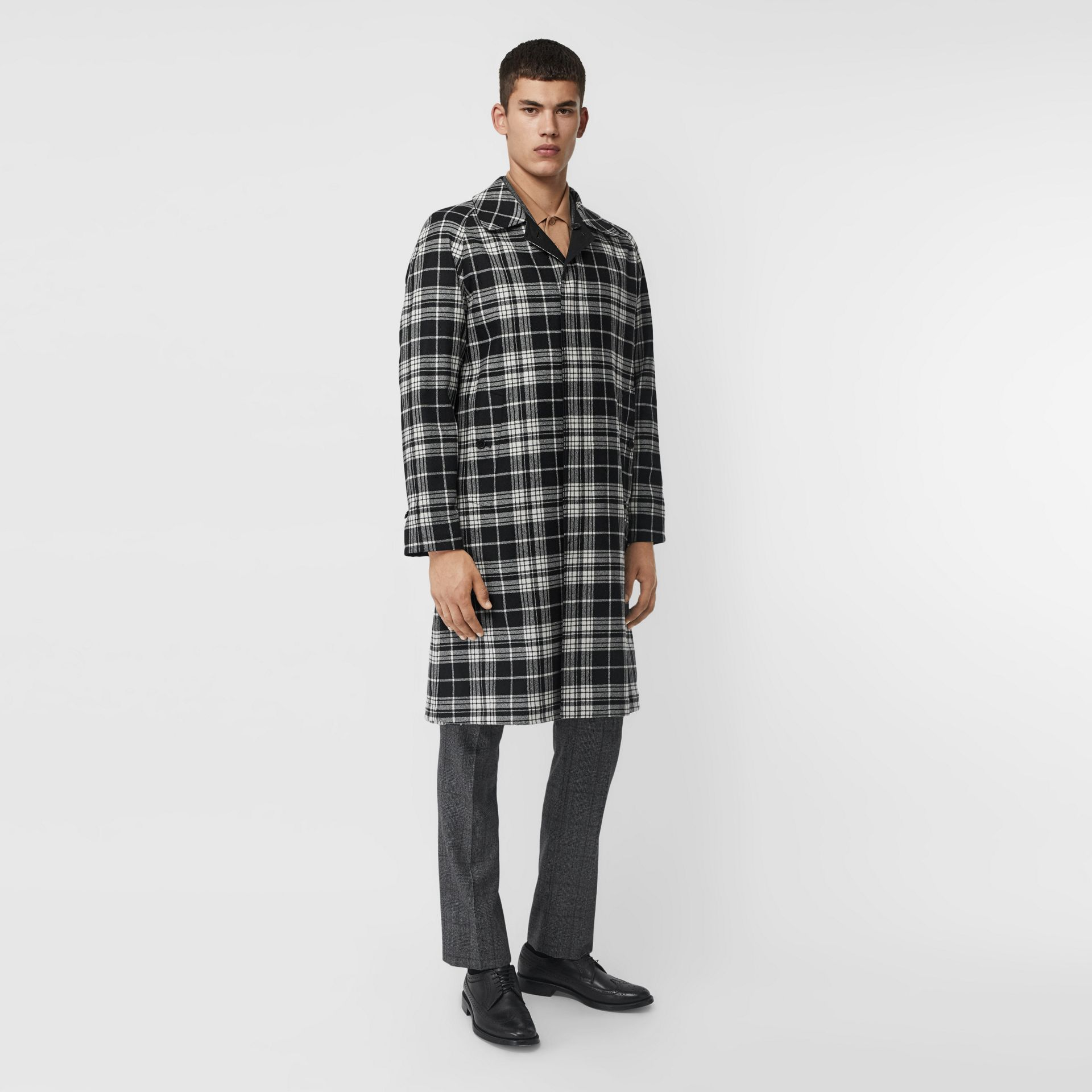 Reversible Wool Cashmere and Cotton Car Coat in Black - Men | Burberry Canada - gallery image 0