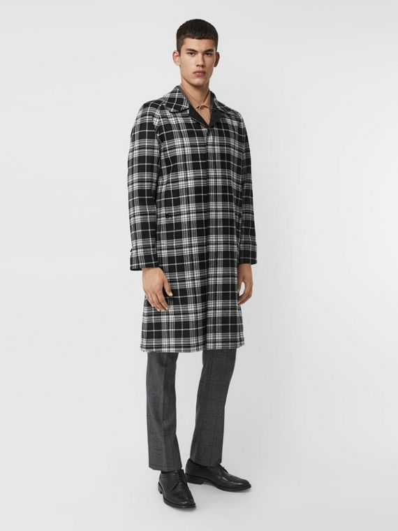 Reversible Wool Cashmere and Cotton Car Coat in Black