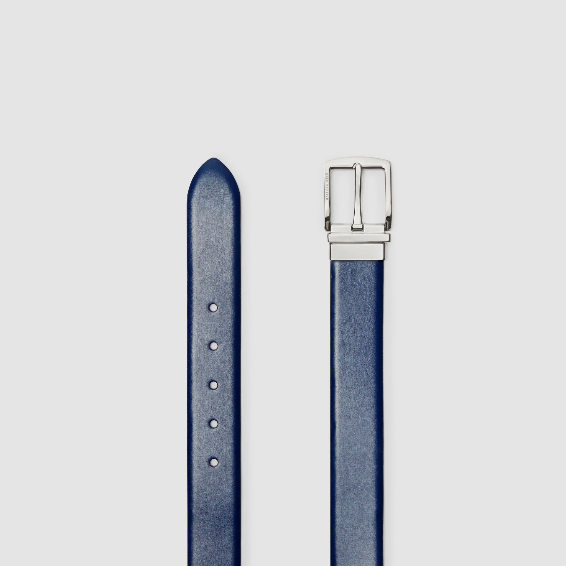 Reversible Leather Belt in Navy/black - Men | Burberry - gallery image 5