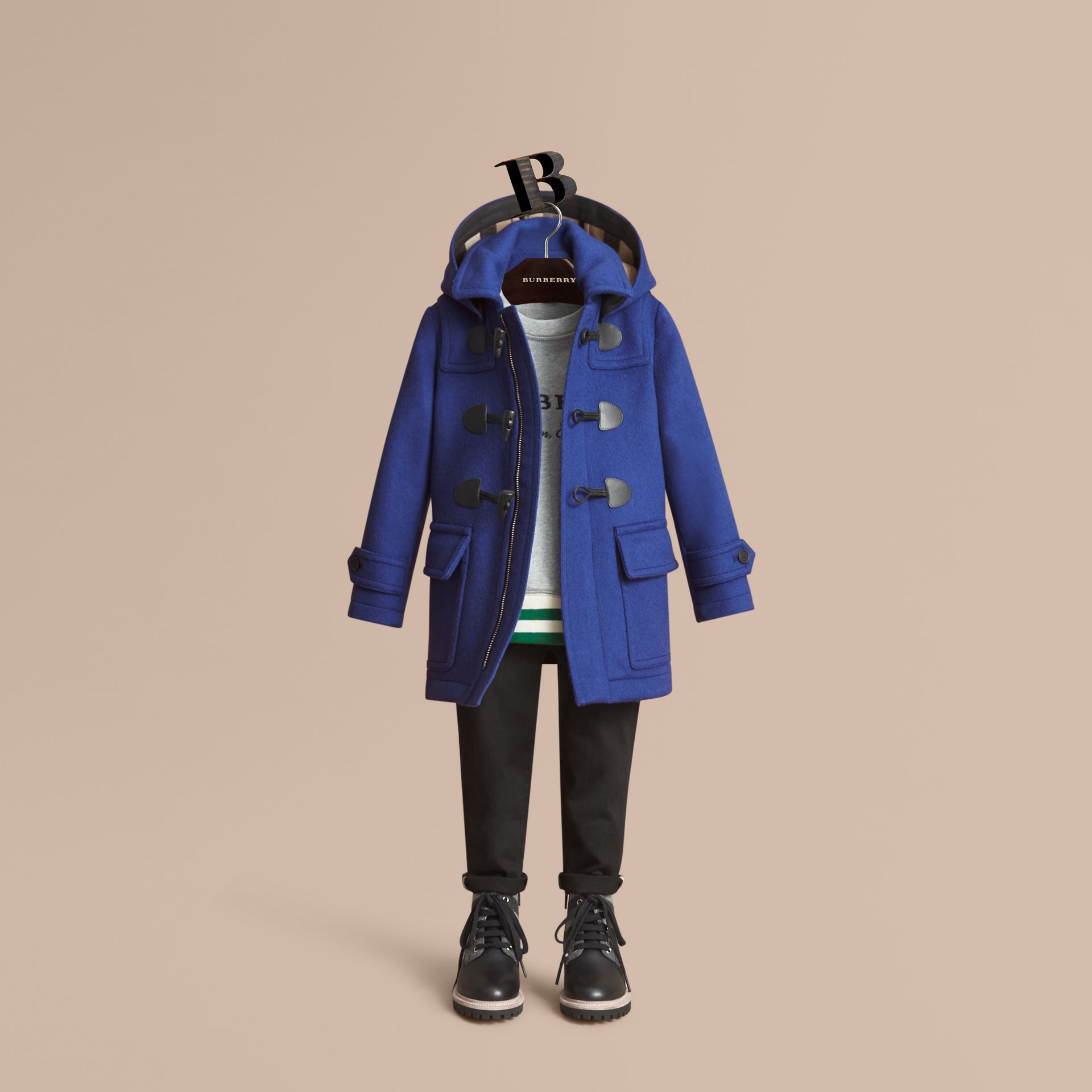 Hooded Wool Duffle Coat in Cobalt Blue - Boy | Burberry Canada - gallery image 1