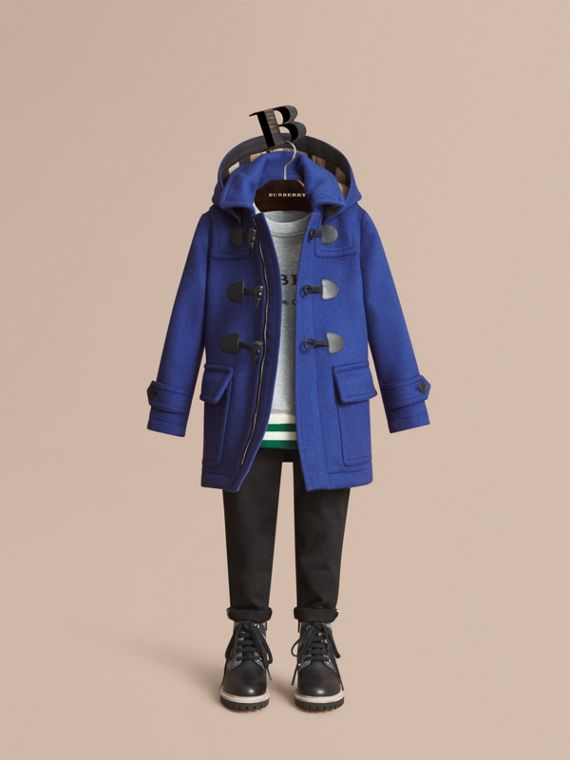 Hooded Wool Duffle Coat in Cobalt Blue - Boy | Burberry