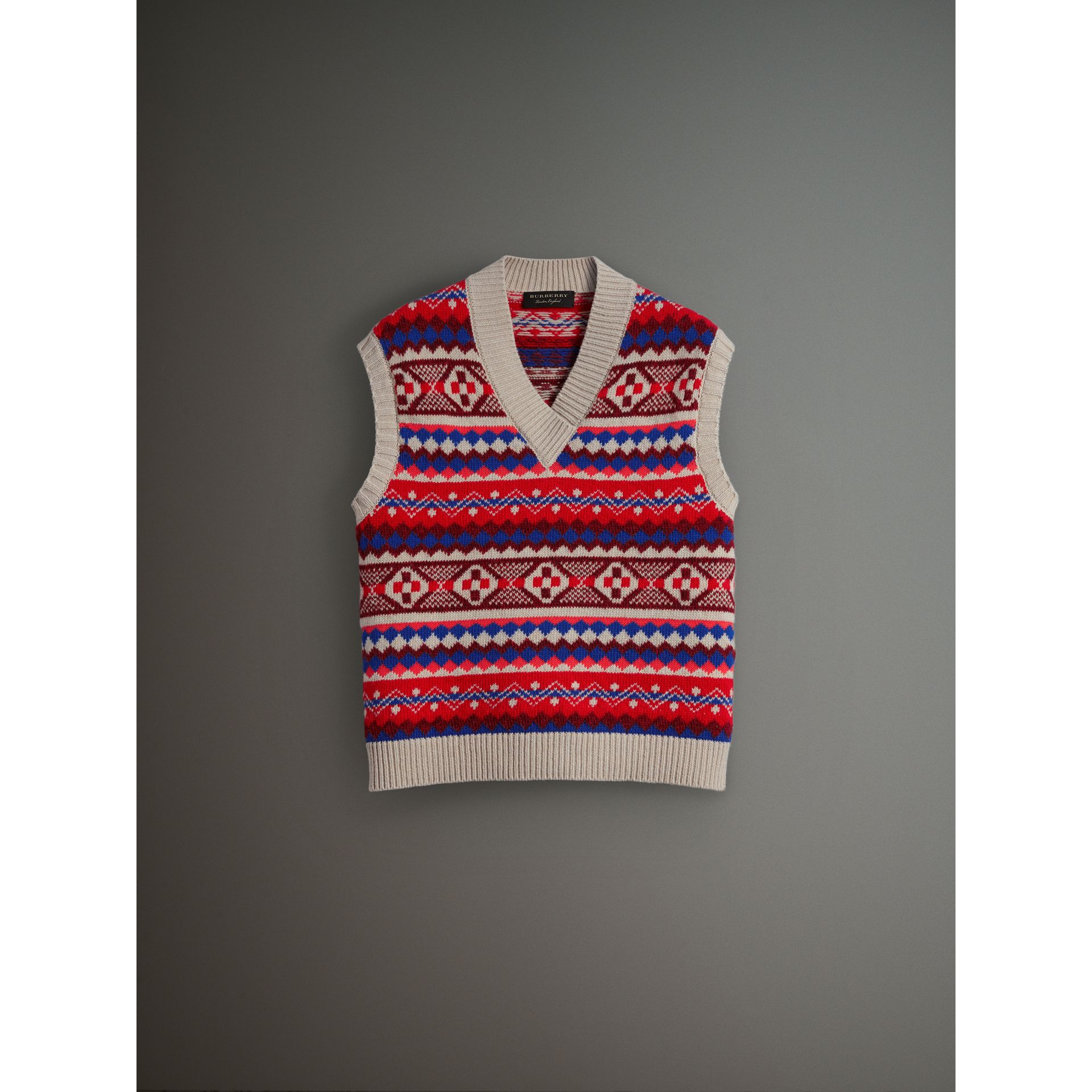 Fair Isle Wool Cropped Tank Top in Oatmeal - Men | Burberry Canada - gallery image 4