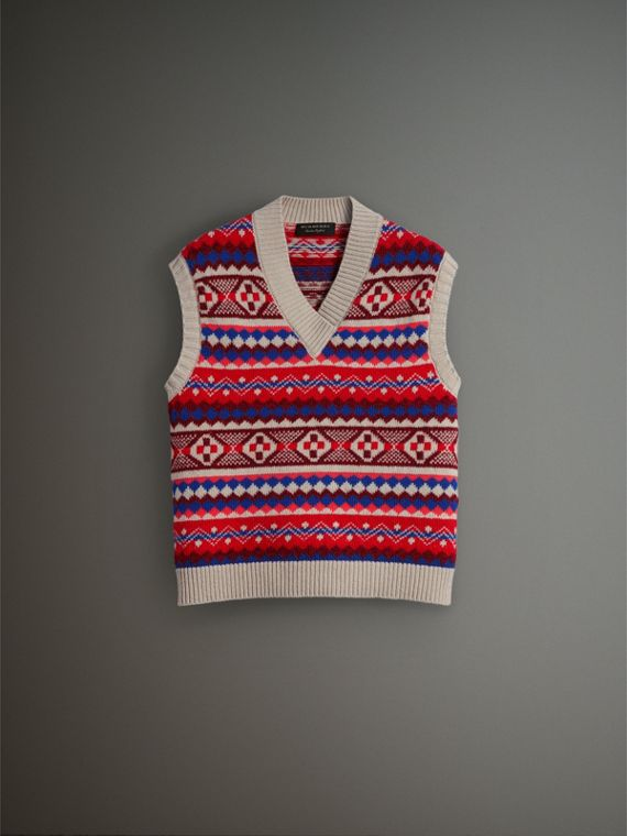 Fair Isle Wool Cropped Tank Top in Oatmeal - Men | Burberry Hong Kong - cell image 3