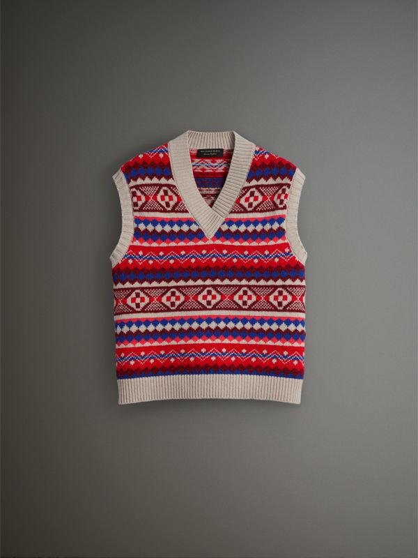 Fair Isle Wool Cropped Tank Top in Oatmeal - Men | Burberry - cell image 3