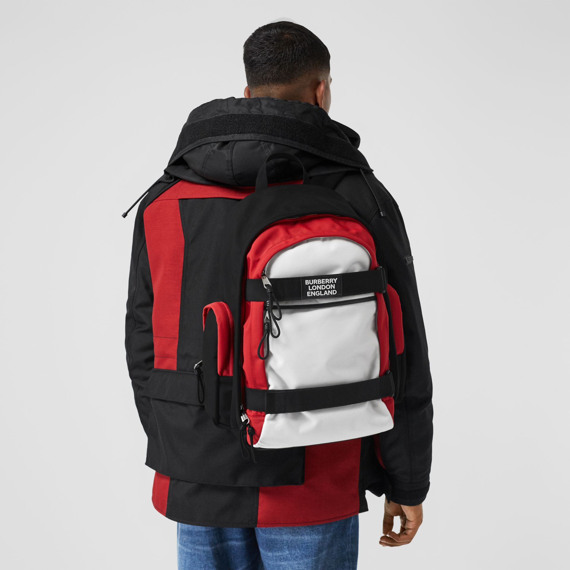 Large Colour Block Nevis Backpack in White/red/black | Burberry - gallery image 10