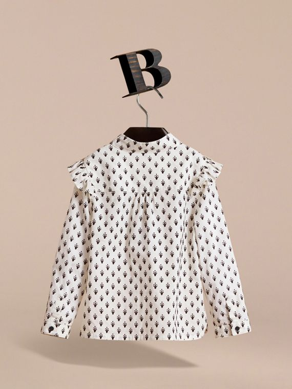 Frill Detail Flocked Cotton Shirt in Natural White - Girl | Burberry - cell image 3