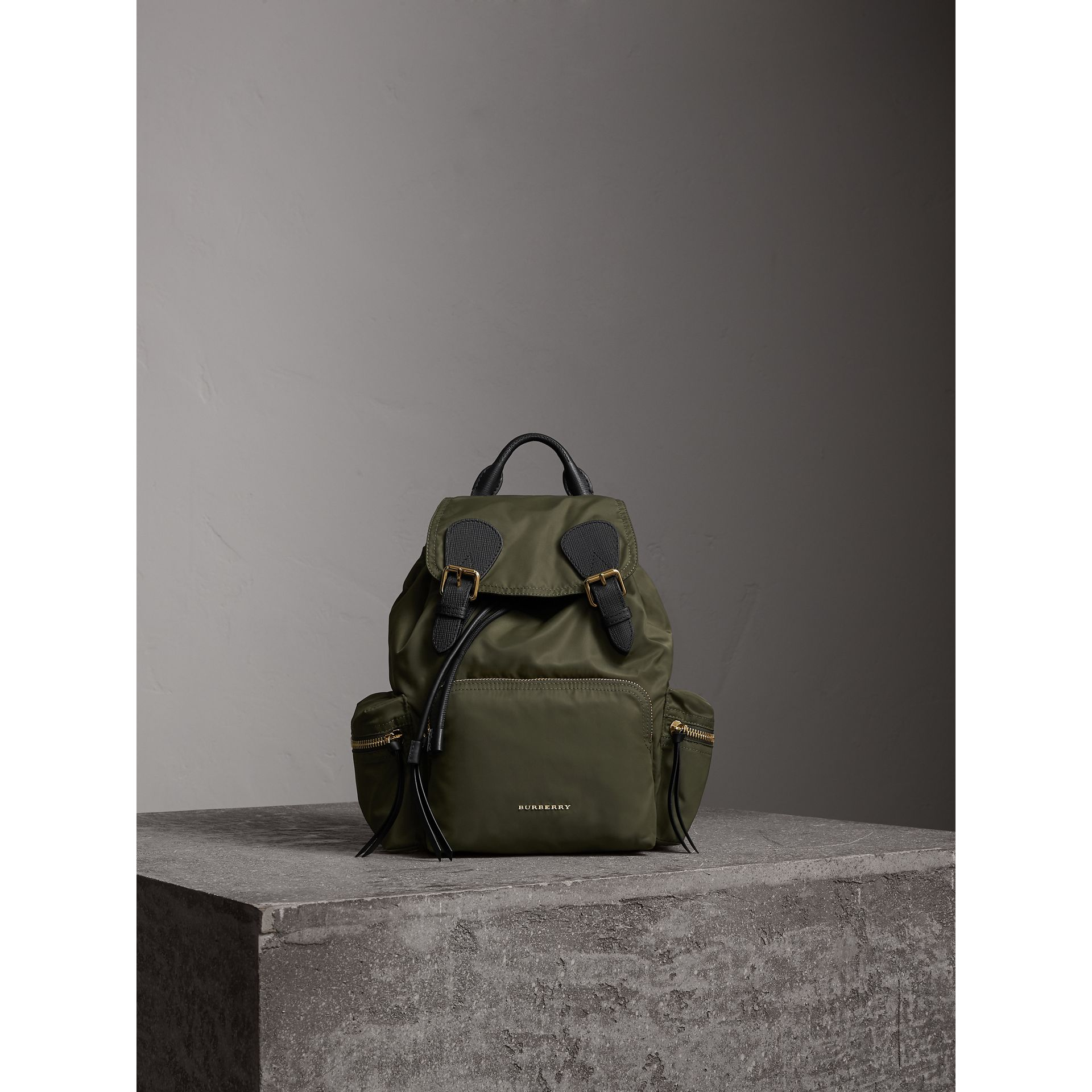 The Medium Rucksack in Technical Nylon and Leather in Canvas Green - Women | Burberry - gallery image 1