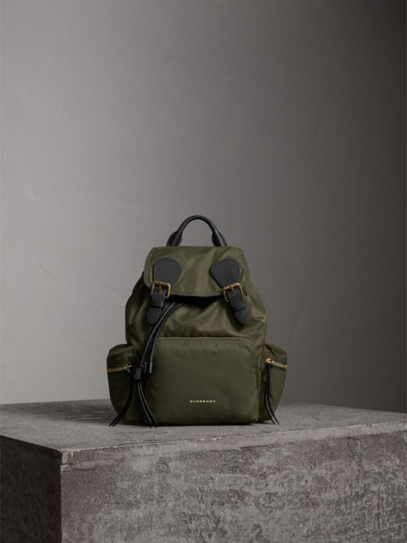 The Medium Rucksack in Technical Nylon and Leather in Canvas Green - Women | Burberry - cell image 2