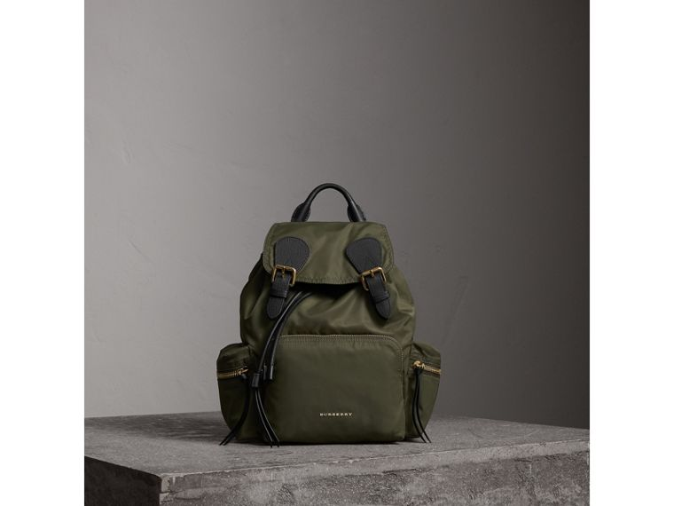 The Medium Rucksack in Technical Nylon and Leather in Canvas Green - Women | Burberry - cell image 1