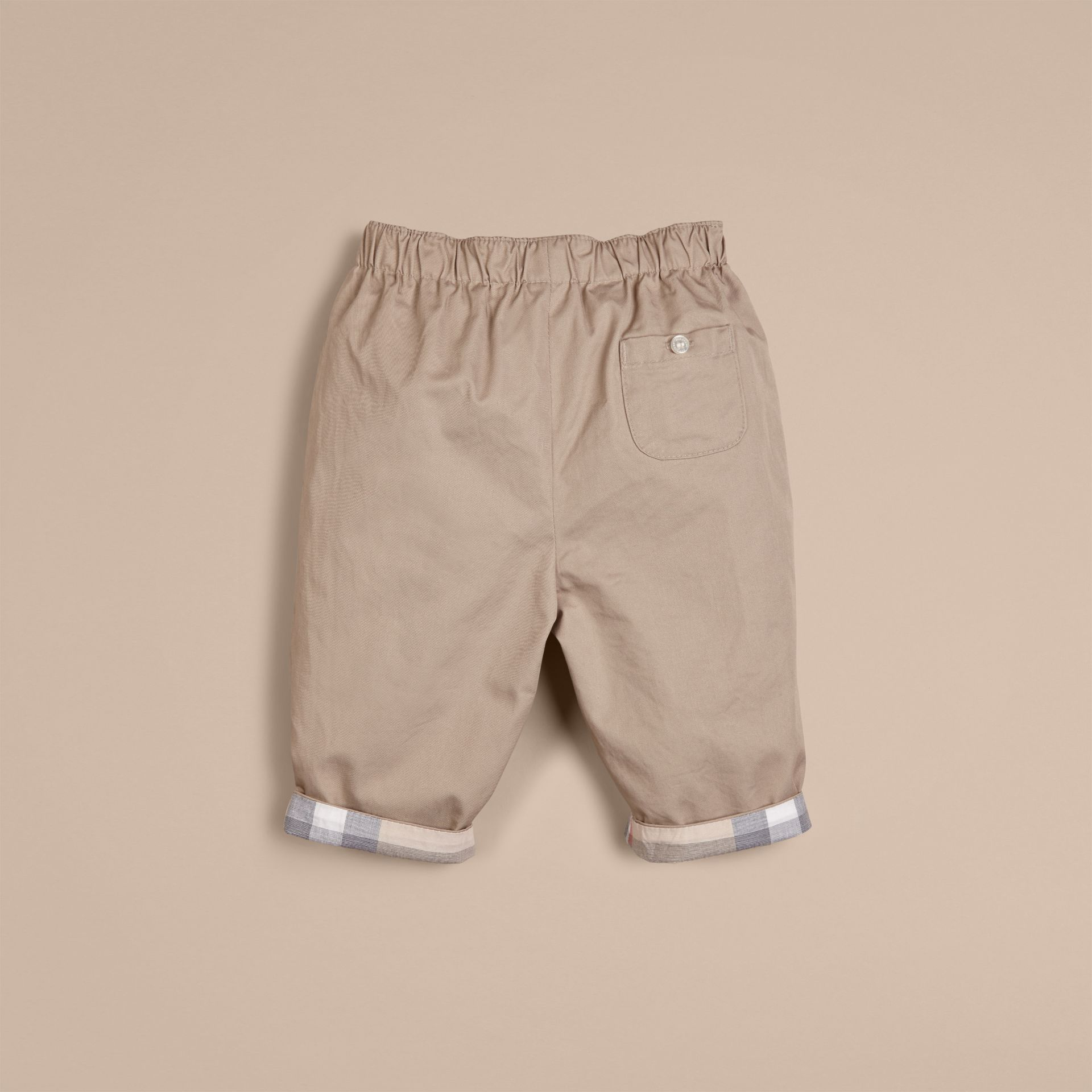 Check Turn-Up Cotton Trousers Taupe - gallery image 3