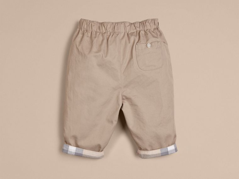 Check Turn-Up Cotton Trousers in Taupe | Burberry - cell image 2