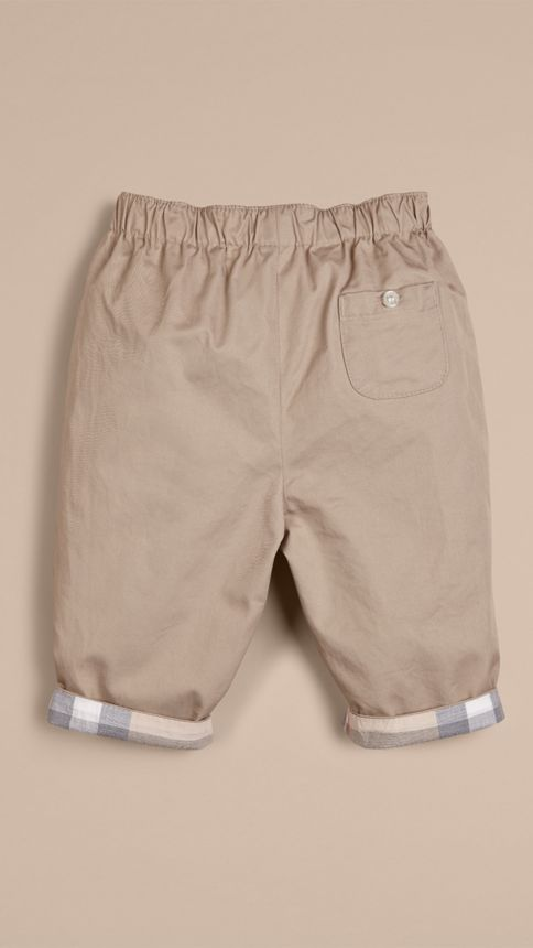 Taupe Check Turn-Up Cotton Trousers - Image 3