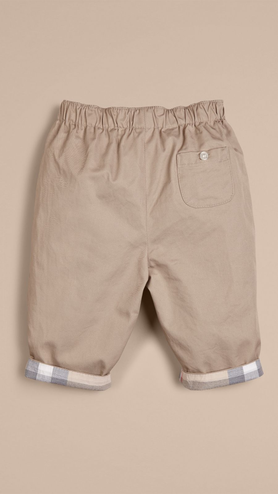 Taupe Check Turn-Up Cotton Trousers Taupe - Image 3