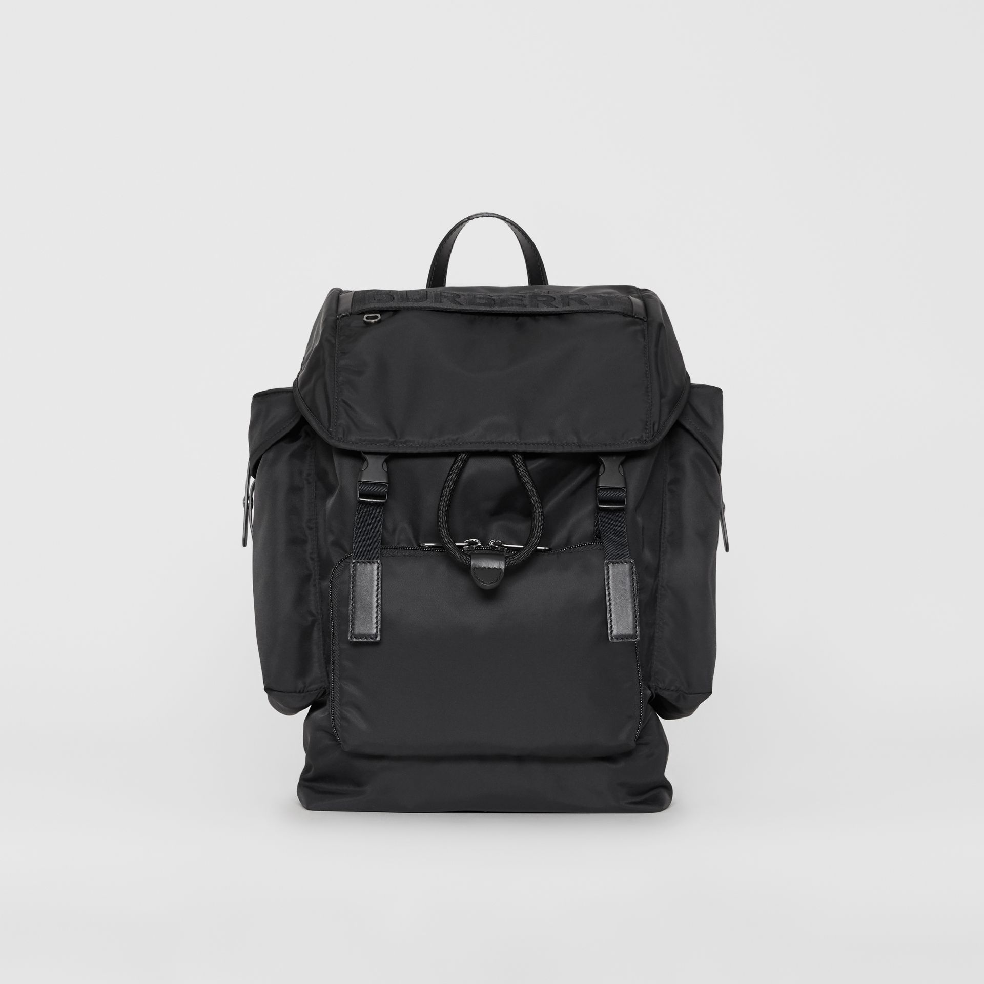 Medium Leather Trim Nylon Backpack in Black | Burberry Australia - gallery image 0