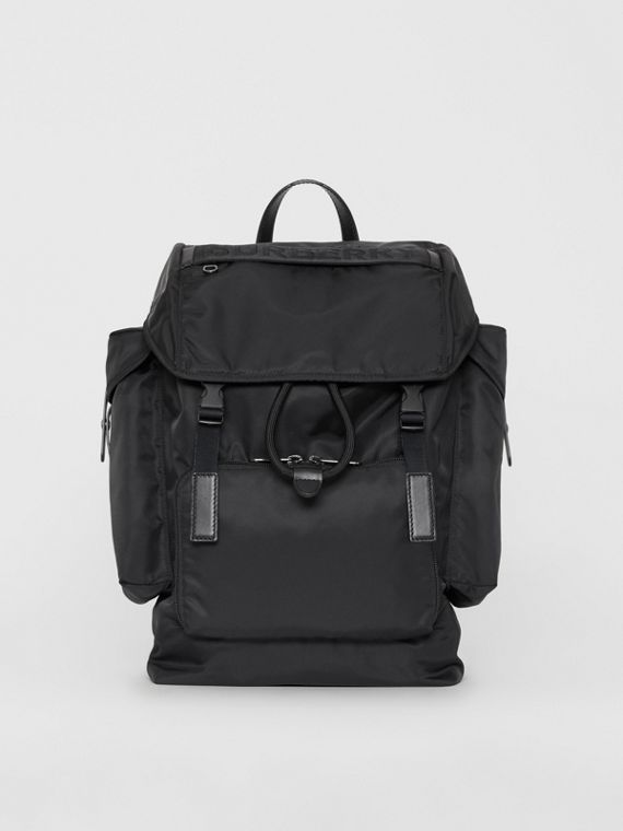 Medium Leather Trim Nylon Backpack in Black