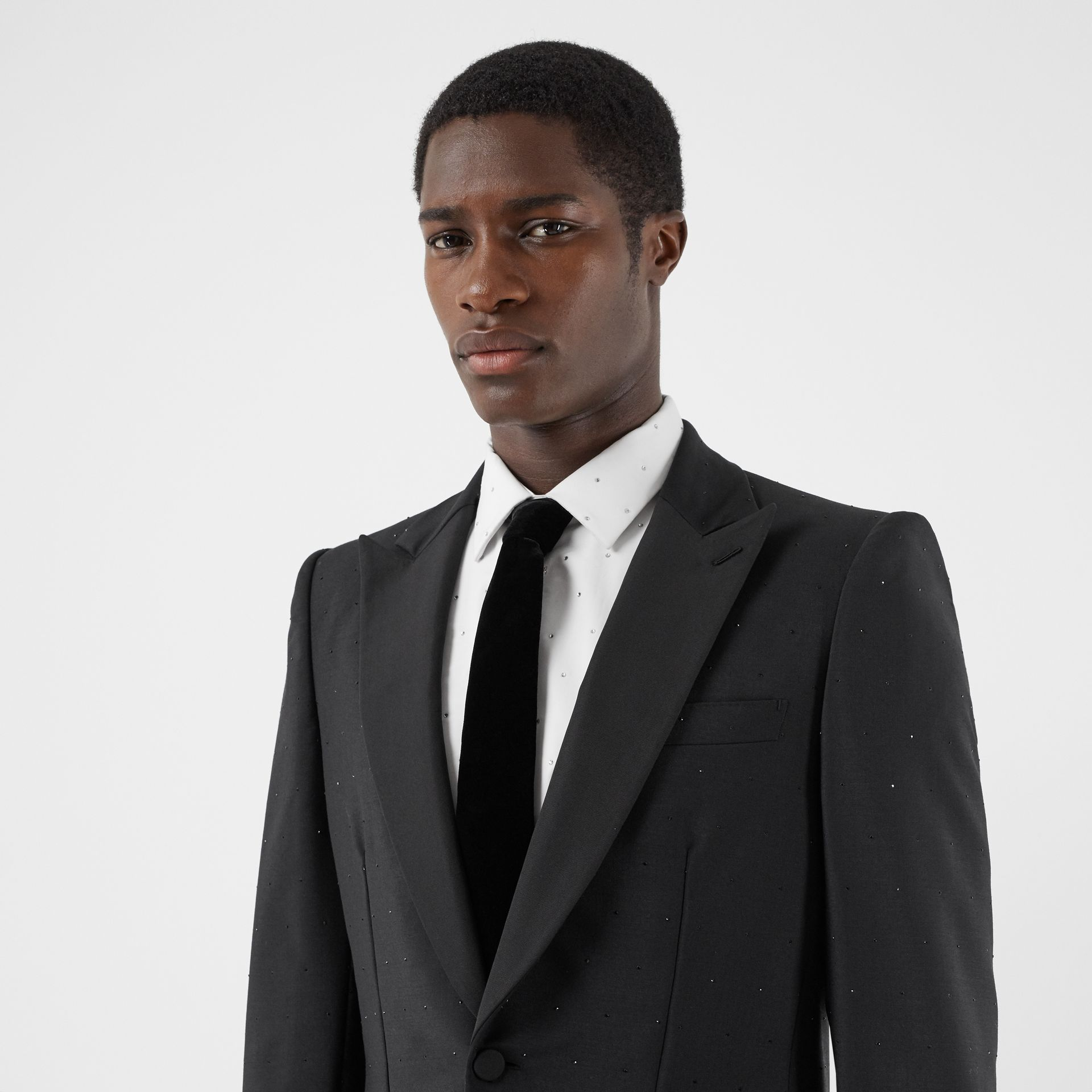 Classic Cut Velvet Tie in Black - Men | Burberry - gallery image 2