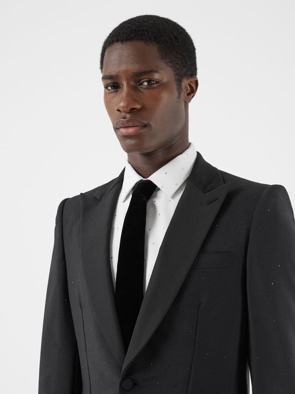 Classic Cut Velvet Tie in Black - Men | Burberry - cell image 2