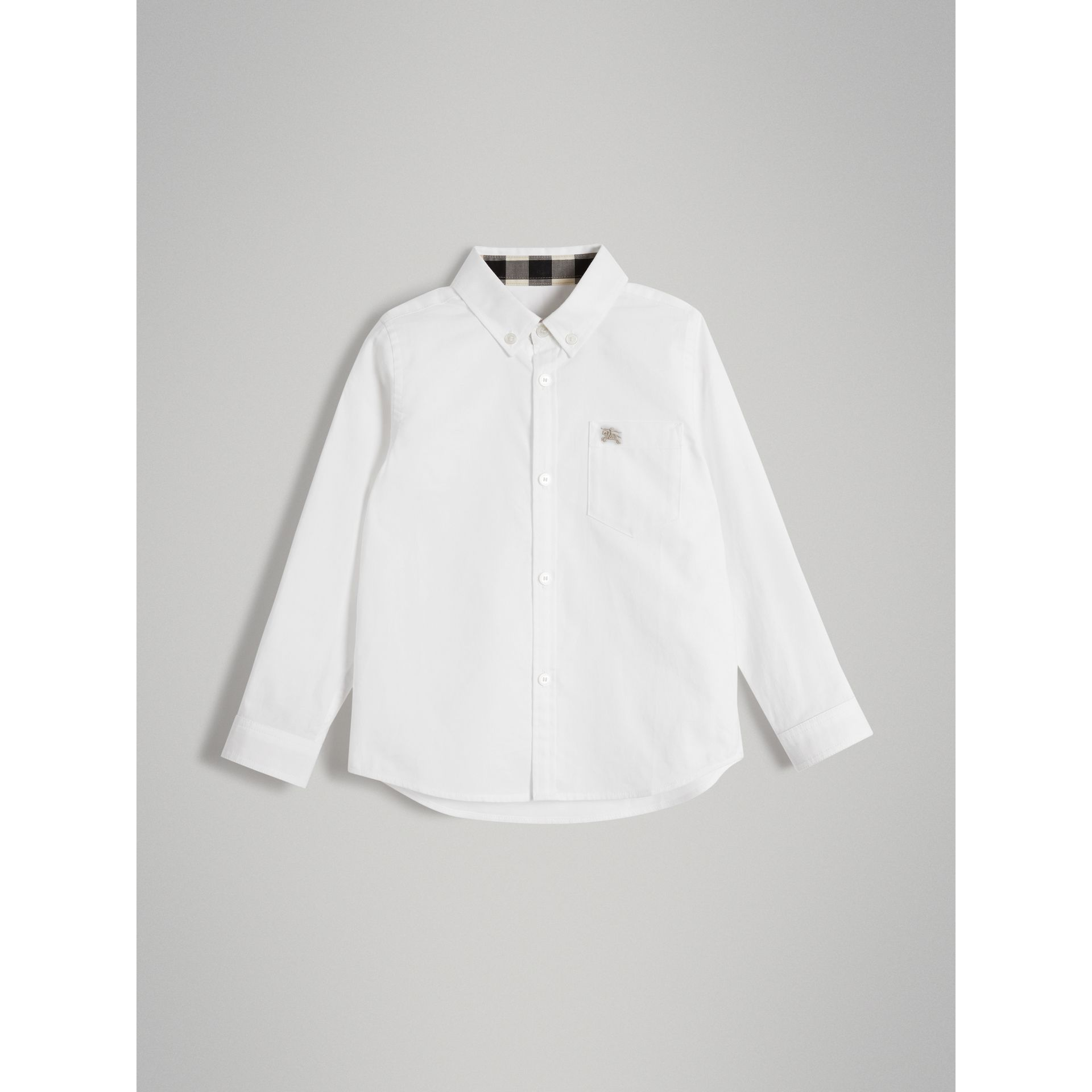 Cotton Button-down Collar Shirt in White - Boy | Burberry - gallery image 0