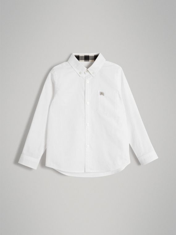 Cotton Button-down Collar Shirt in White